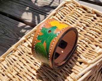 Leather Cuff bracelet, premium leather handpainted floral scrolling, heavy duty snap closure, lined inside, 1 3/4 wide. FREE SHIPPING