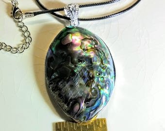.925 Sterling Silver Pendant is 2.75x1.5in on 17in Black Mesh Cord With 1.5in Extension Chain SUMMER SALE Abalone Gemstone Necklace