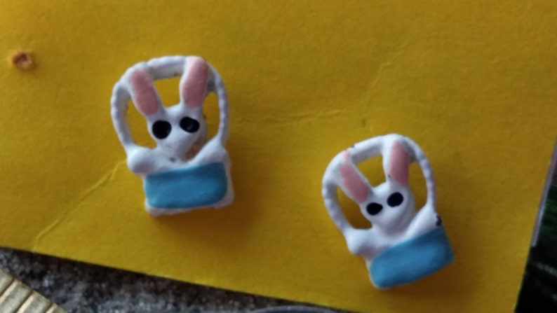 FALL CLEARANCE Vintage Easter Bunnies in a Basket Earrings image 0