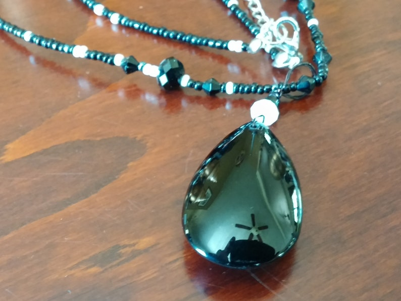 FALL CLEARANCE Black Smooth Teardrop Crystal Pendant With image 0