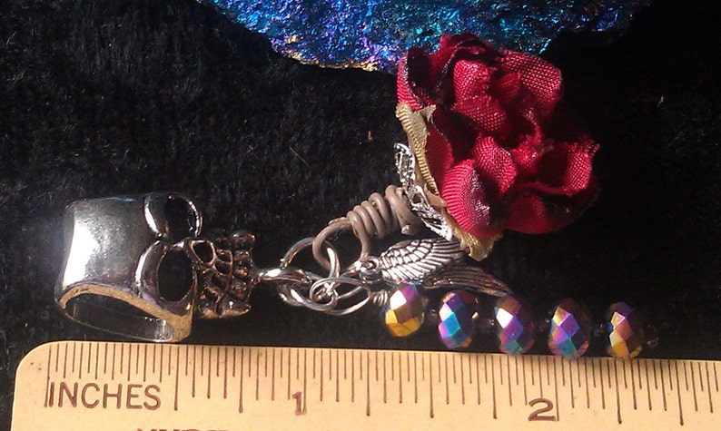 Pair of Silver Wings European Style Bead SUMMER SALE Tibetan  Silver Skull Iridescent Crystals Silk Wire Wraped Rose Ships From USA