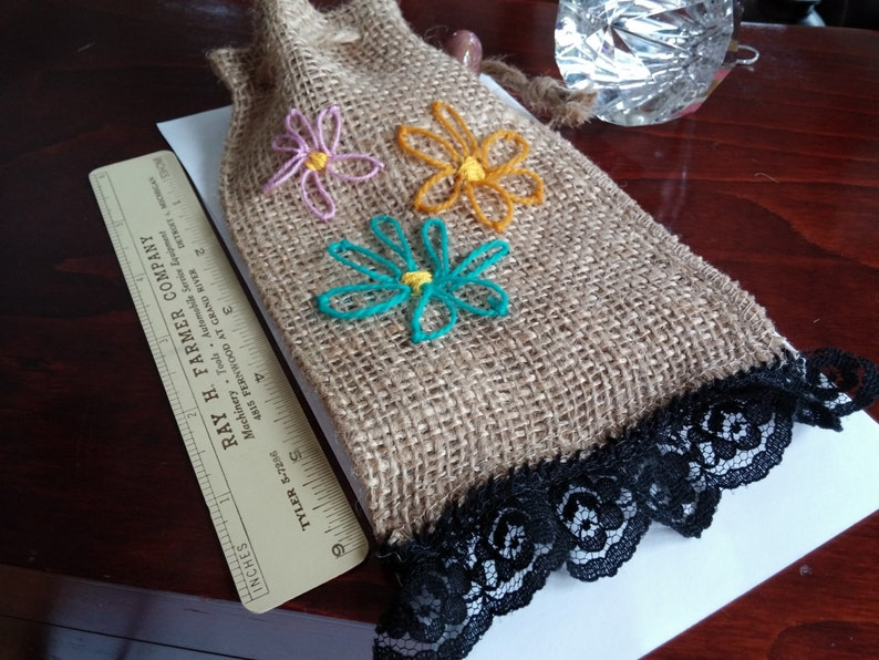 Black Lace Trim SUMMER SALE Flowered Burlap Bag Burlap Rope Closure 1inch Black Lace 3 Hand Embroyered Flowers, 4x7 inches