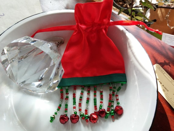 14bea300cee CLEARANCE SALE Beaded Red Satin Bag Red Gold and Green