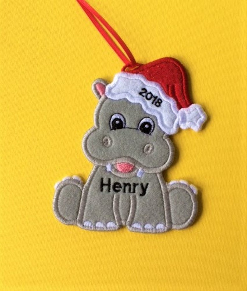 Hippo Christmas Ornament.Personalized Hippo Christmas Ornament Or Gift Tag