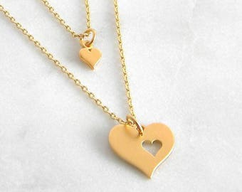 Gold Mother Daughter Necklace, Mother Daughter Heart Necklace, Gold Heart Cut out Mother Daughter Necklace, Mothers Day Gift, Gift for her