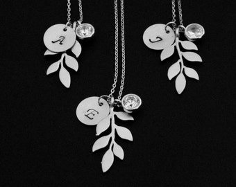 Gold Branch Necklace, Silver Leaf Necklace, Bridesmaids Necklace, Personalized Necklace, Cubic Zirconia, Leaf Initial Necklace, Gift for her