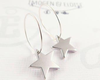 4edd2a67b Star Earrings, Sterling Silver Star Hoop Earrings, Silver Star Charm  Earrings, Star Earrings, Petite Star Hoops, gift for her