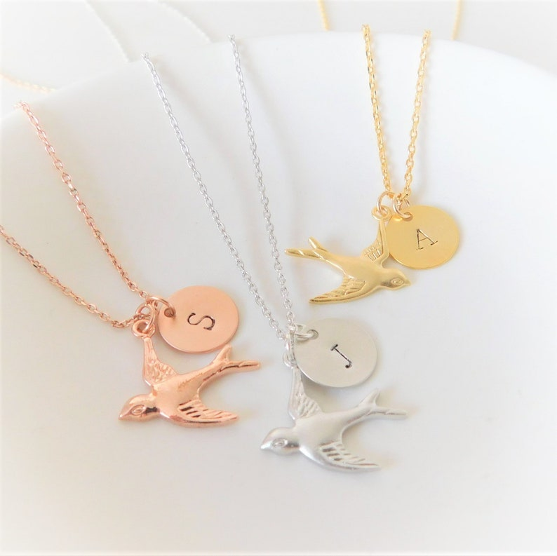 Personalized Sparrow Necklace in Gold Rose Gold or Silver image 0