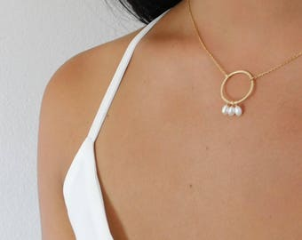 Karma Circle Necklace, Gold Circle Necklace,  Pearl Karma Circle Necklace, Bridesmaid Gift, Pearl Necklace, Eternity Necklace, Gift For Her