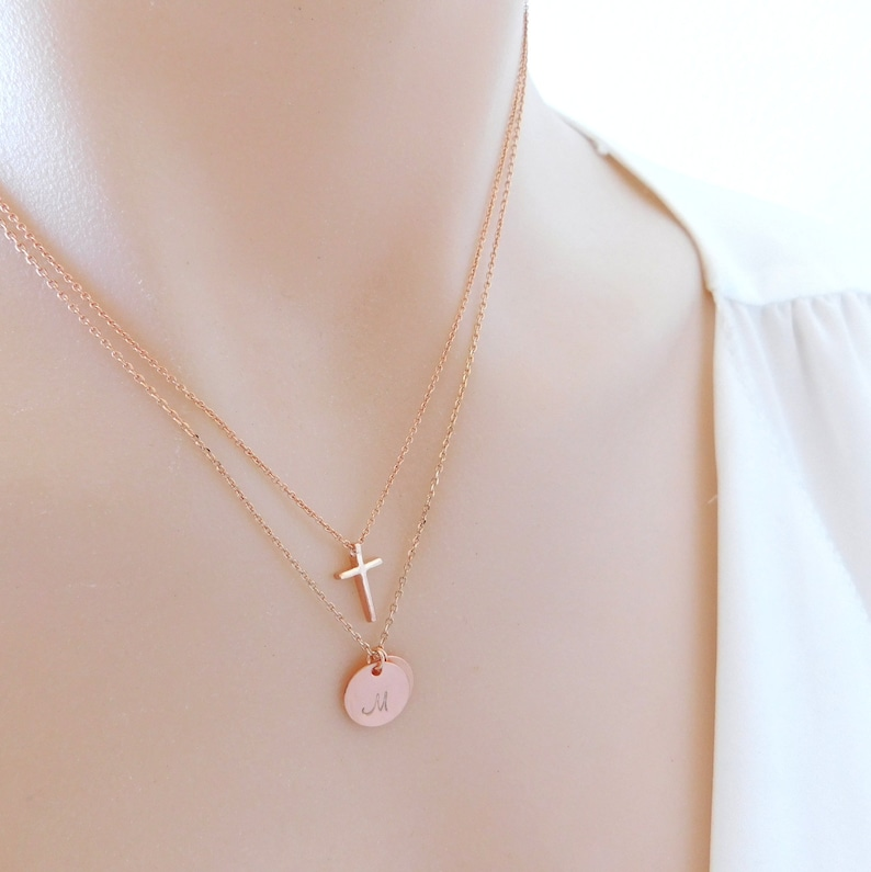 Mothers Day Gift dainty rose gold monogram necklace Personalized disc necklace Rose gold Initial necklace Bridesmaid Gift