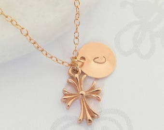 Rose Gold Cross Necklace, Personalized Cross Necklace, Religious Necklace, 14kt Rose Gold Filled Cross Initial Necklace