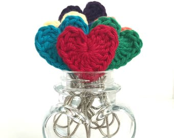Set of 3 Crochet Heart Paperclip bookmarks - Planner Paperclips - Journaling Bible Tabs - Planner Accessories- Planner Clips -Rainbow Colors