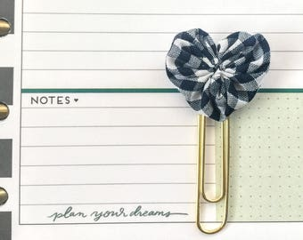 Set of 2 Mini Fabric Heart Paperclip bookmarks - Planner Paperclips - Planner Accessories - Planner Clips - Navy Gingham Spring