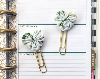 Set of 2 Mini Fabric Heart Paperclip bookmarks - Planner Paperclips - Planner Accessories - Planner Clips - Green Floral Spring