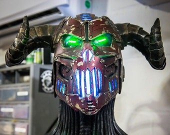 The Necrotron payment 1 of 4 - Full RGB color changeable LED devil DJ helmet - Scifi unique one of a kind