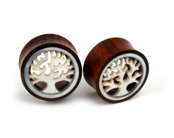 DOUBLE FLARED PAIR MAHOGANY COLOR WOOD CARVED TREE OF LIFE EAR PLUGS GAUGES