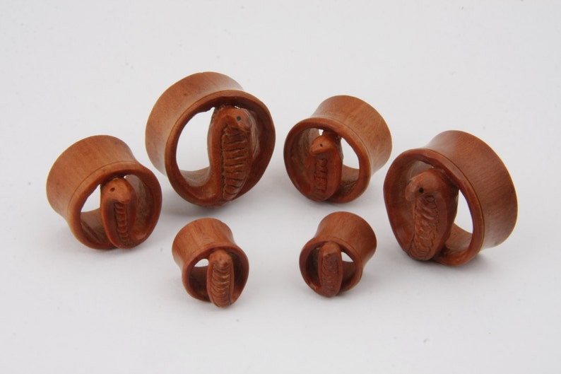 Double Flare Tunnel Organic Sawo Wood Ear Plug Gauges Body Piercing Jewelry Pair  Cobra Snake Gift for Pierced 3D