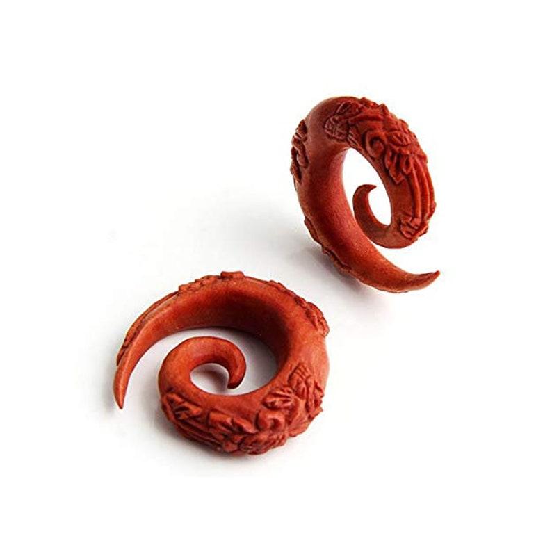 Tribal Organic Wooden Plug Earrings,Taper, Pincher, Hanging Spiral Ear  Plugs Gauges- Sono wood Twirl Body Piercing Jewelry