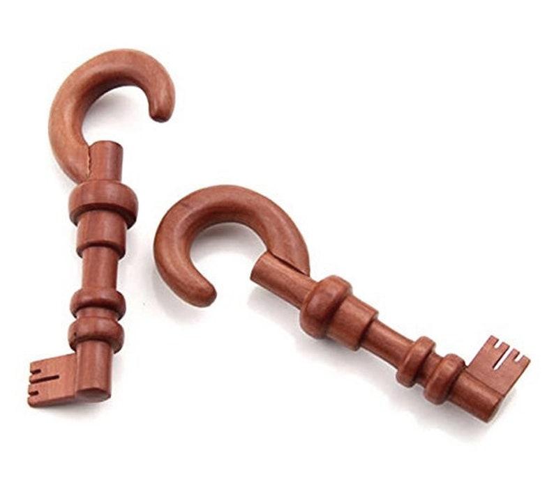 Body Piercing Jewelry Pair Hand Carved Skeleton Key Dangle Gauges,Organic Wood Ear Plug Gauges