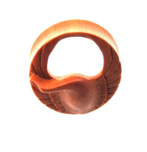 JewelryVolt Double Flare Organic Dark Sawo Wood Pink Rose Leather Flower Ear Plugs Gauges