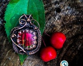 Tyche Talisman Fortune Prosperity Feng Shui Powerful Amulet Ammolite Pendant Wire Wrapped Copper Pendant OOAK Necklace Gift for Her, for Him