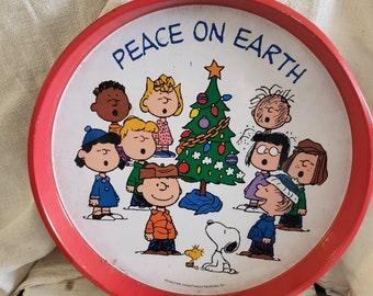 Snoopy Peanuts Ceramic Snack Vanity Tray Table Plate Charlie Brown Christmas