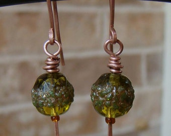 Fall Earrings In Copper With Vintage Art Glass Beads