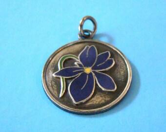Vintage Sterling Purple Enamel Flower Charm
