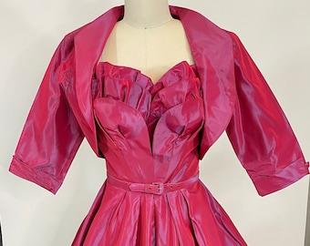 Vintage 1950s Lilli Diamond Pink Taffeta Ruffled Sweetheart Dress with Jacket, Small