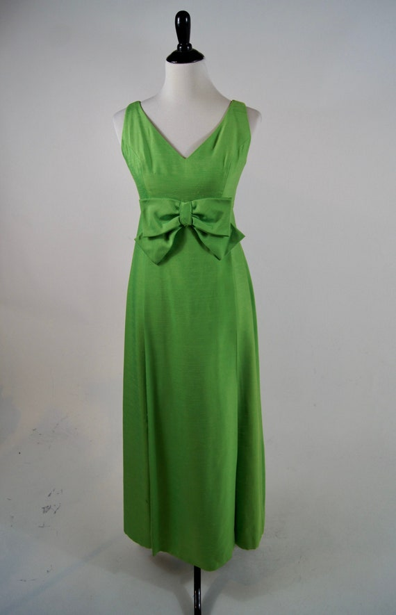 Small. Cirette 70s Green Party Dress 1970s Vibrant Green Dress with Empire Waist