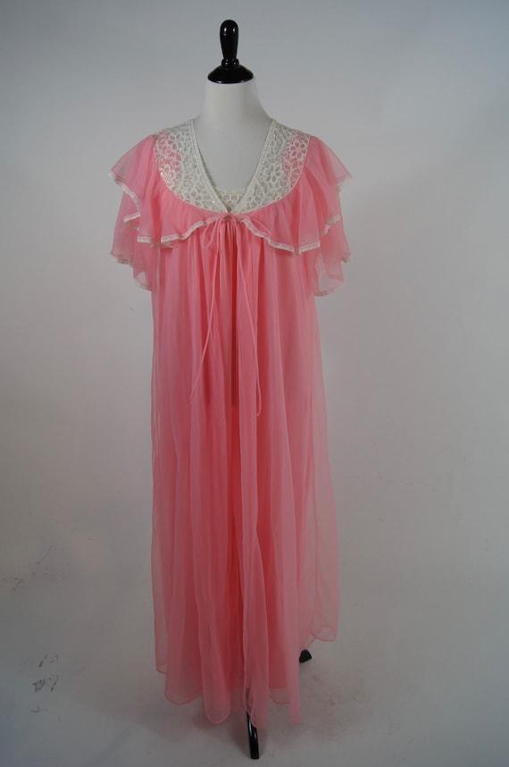 Vintage 1960s Secret Accents Pink Peignoir Set wit