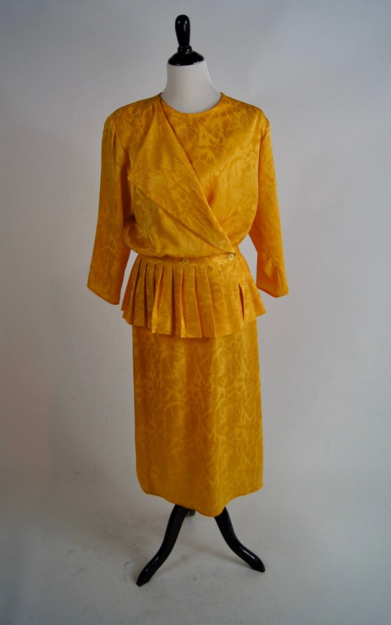 Vintage 1980s L'Aggresse Yellow Pleated Peplum Dre