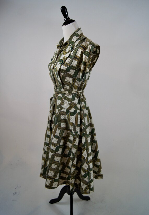 Vintage 1950s Kenrose Green Full Zip Cotton Day D… - image 2