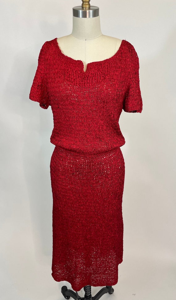 Vintage 1940s Hand knit red Ribbon Dress with Notc