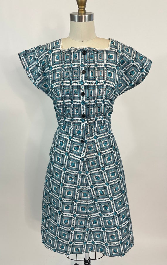 Vintage 1950s Blue Rose Print Cotton Day Dress, La