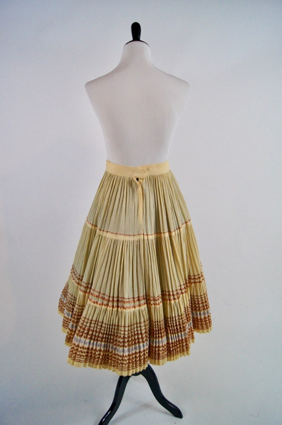 Vintage 1950s Pleated Ivory Full Skirt with Coppe… - image 5