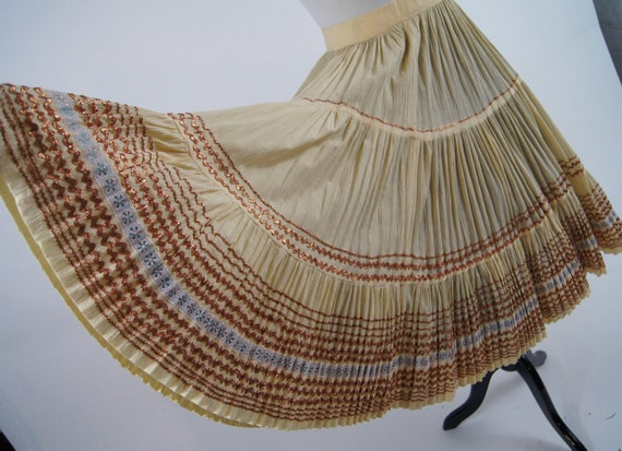 Vintage 1950s Pleated Ivory Full Skirt with Coppe… - image 3