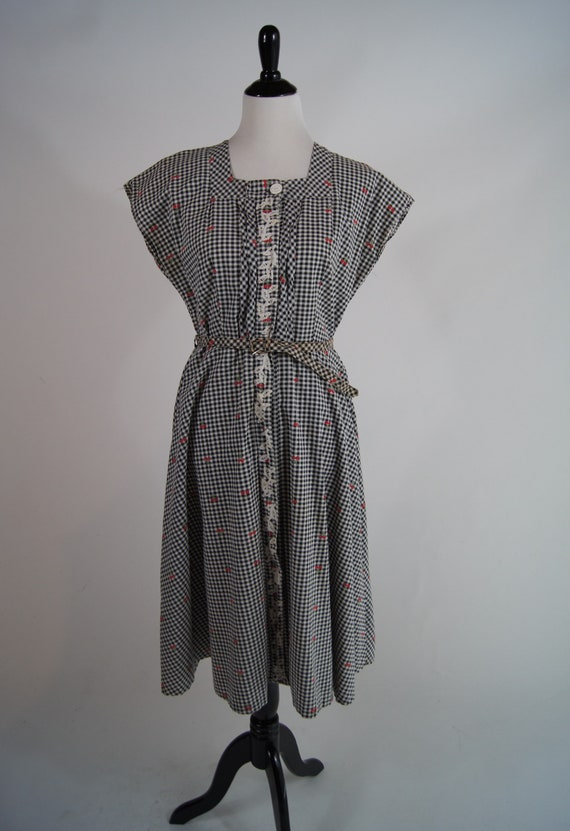 Vintage 1950s Black Gingham Shirtdress with Cherry