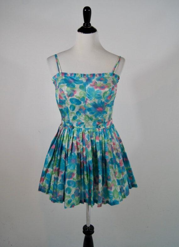 Vintage 1960s Gabar Turquoise Floral Skirted Sunsu
