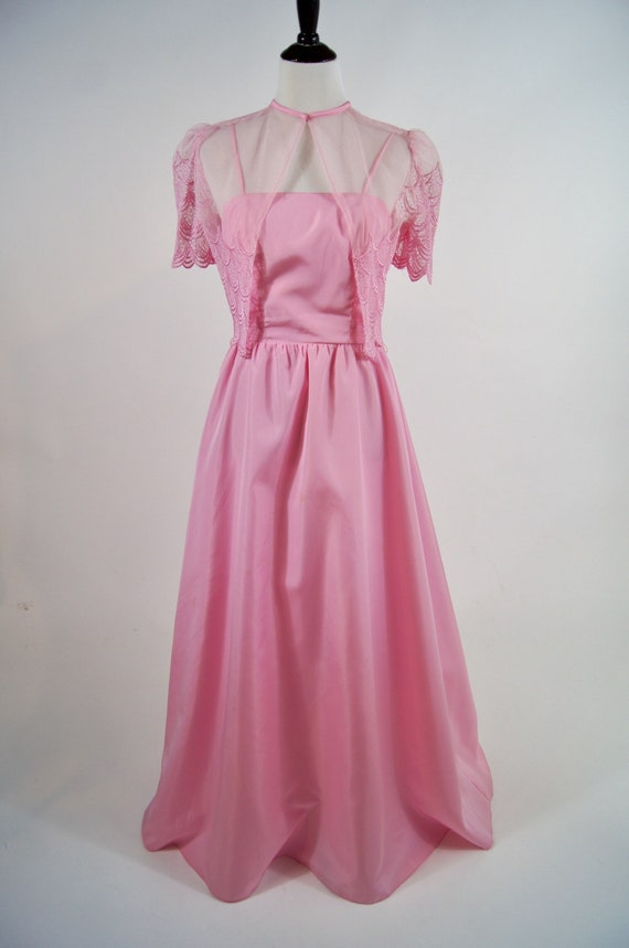 Vintage Pink Maxi Dress with Lace Capelet Jacket,