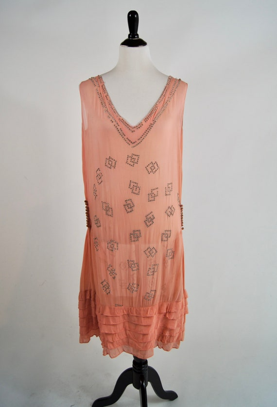 Vintage 1920s Pink Chiffon Flapper Dress with rhin