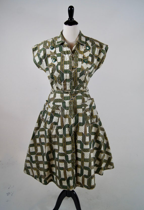 Vintage 1950s Kenrose Green Full Zip Cotton Day Dr
