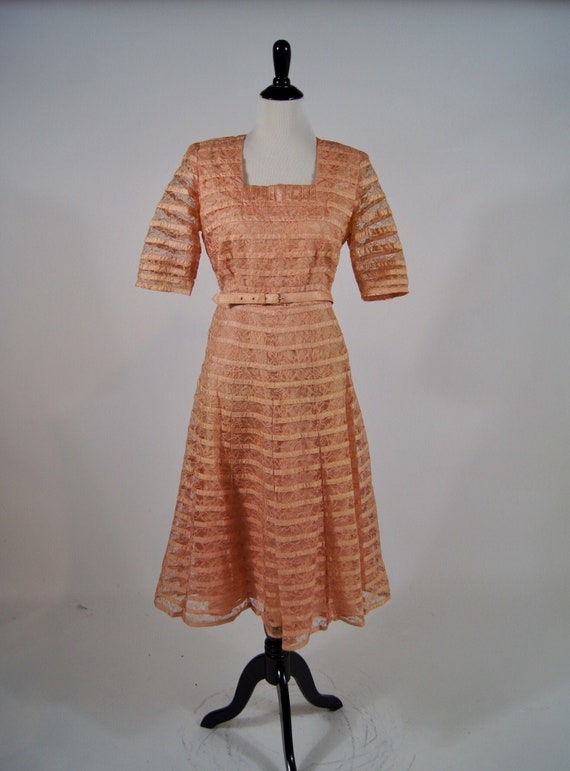 Vintage 1940s Salmon Pink Ribbon and Lace Dress wi