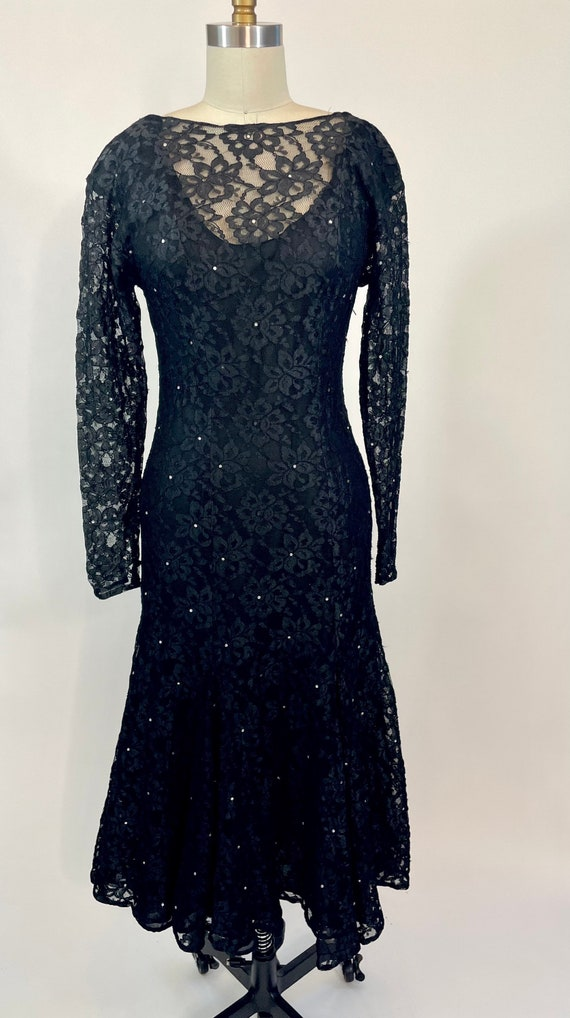 Vintage 1980s Halston Black Lace Fit & Flare merm… - image 1