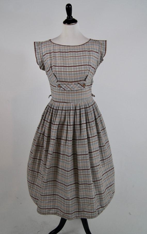 Vintage 1940s Brown Plaid Button Detail dress, Med