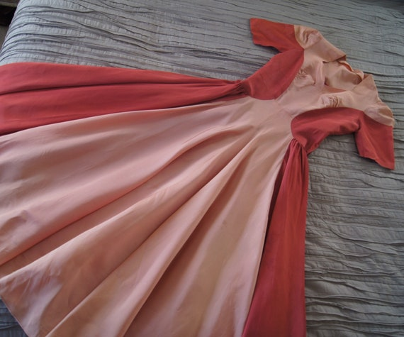 Vintage 1930s Pink on Pink Sweetheart Gown Dress,