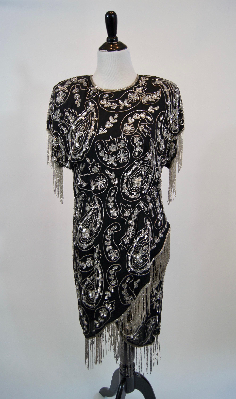 80s Dresses | Casual to Party Dresses Vintage 1980S Laurence Kazar Black Silk Silver Beaded Dress With Fringe, Xl $0.00 AT vintagedancer.com