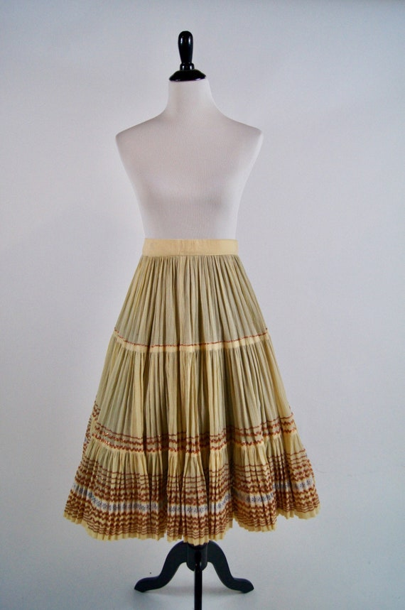 Vintage 1950s Pleated Ivory Full Skirt with Copper