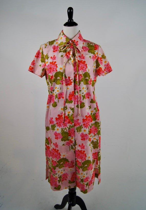 Vintage Tannerway Pink Cotton Floral Housedress wi
