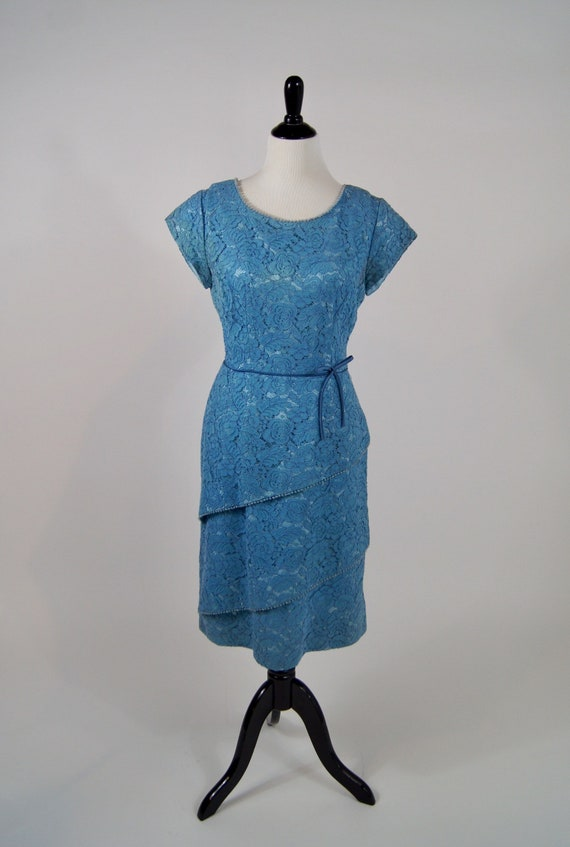 Vintage Early 1960s Renmor Blue Lace Tiered Cocktail Dress Large L